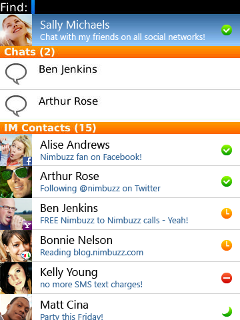 Nimbuzz - Free chat (for BlackBerry OS 4.6)