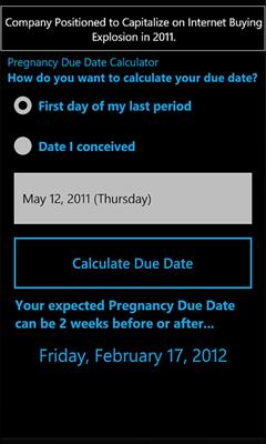 Free HTC 7 Pro Pregnancy Due Date Calculator Software Download