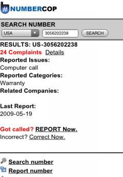 NUMBERCOP Phone Spam Tracker (iPhone)