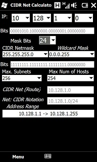 Free Windows Mobile 6 1 Classic CIDR Network Calculator